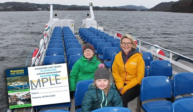 A family enjoying a cruise on Windermere with a super-imposed image of a residents card.