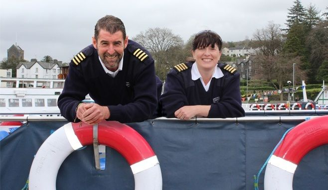 Kirsten and Dan pictured on board a a launch