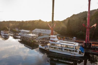 MV Swift being lowered into Lake Windermere for the 1st time in January 2020