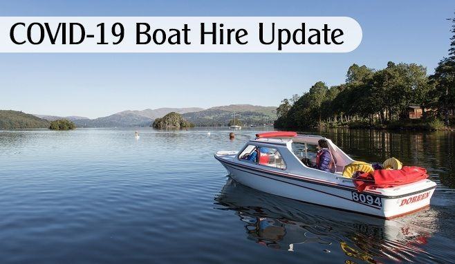 Self drive motor boat and text saying COVID19 Update