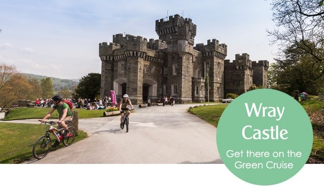 Wray Castle and cyclists