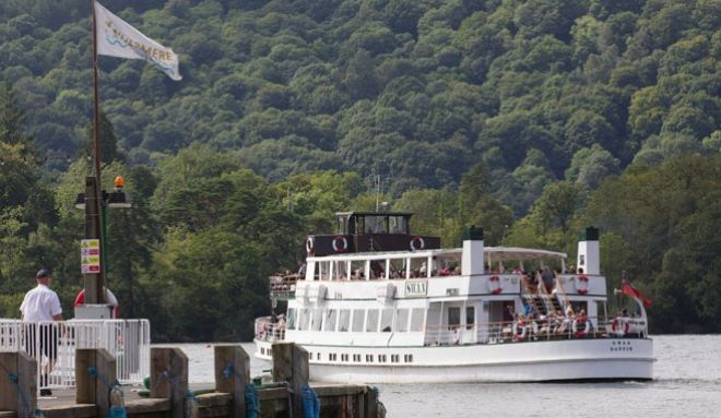 A steamer departing Bowness pier