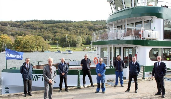 Windermere Lake Cruises staff and Damen managers at the handover event