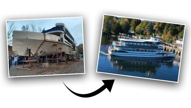 2 images from building site to final boat