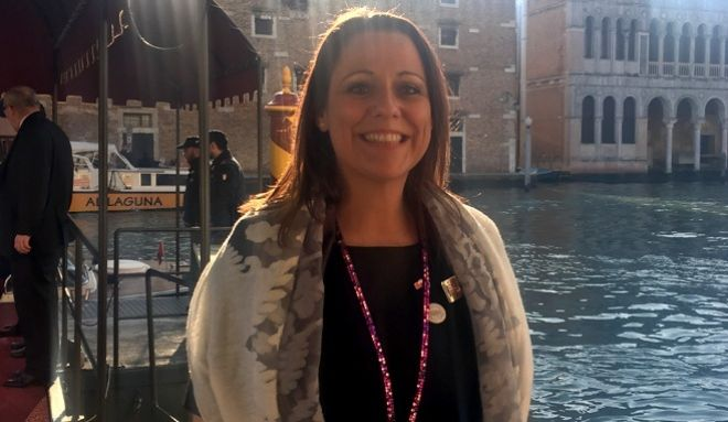 Jennifer Cormack, Sales & Marketing Director on a recent trade show to Venice