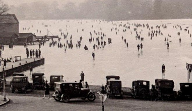 A close up of the photograph of people skating on Windermere