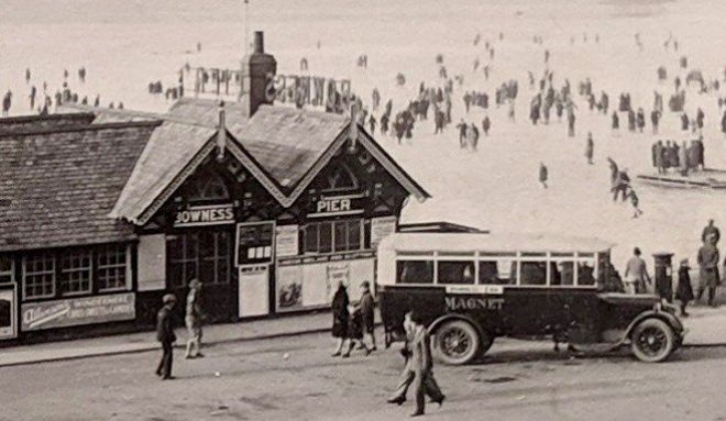 A close up of the photograph showing the offices at Bowness Pier