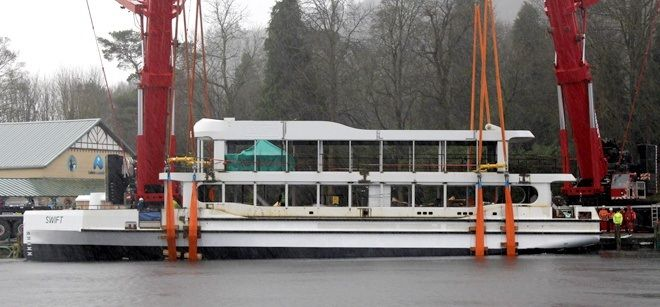 MV Swift after being gently lowered into Lake WIndermere for the first time