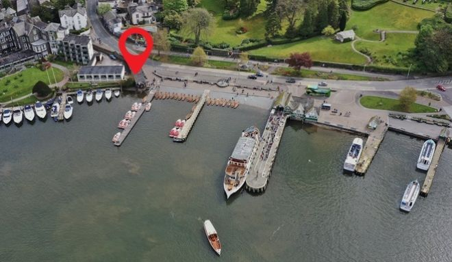 Our location next to Bowness Pier