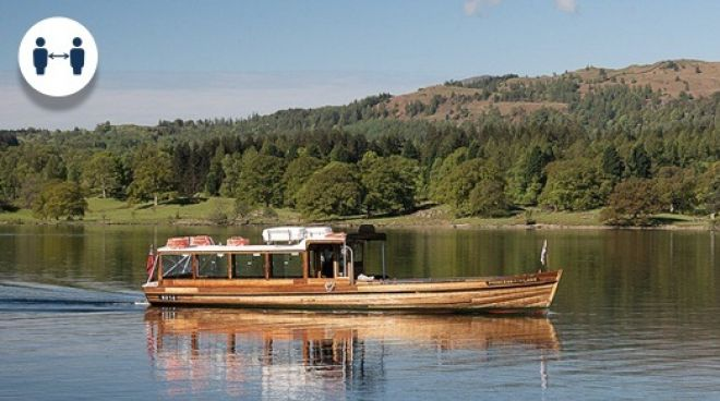 A traditional wooden launch on Lake Windermere