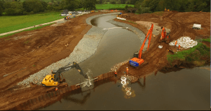 Diversion of water into new channel