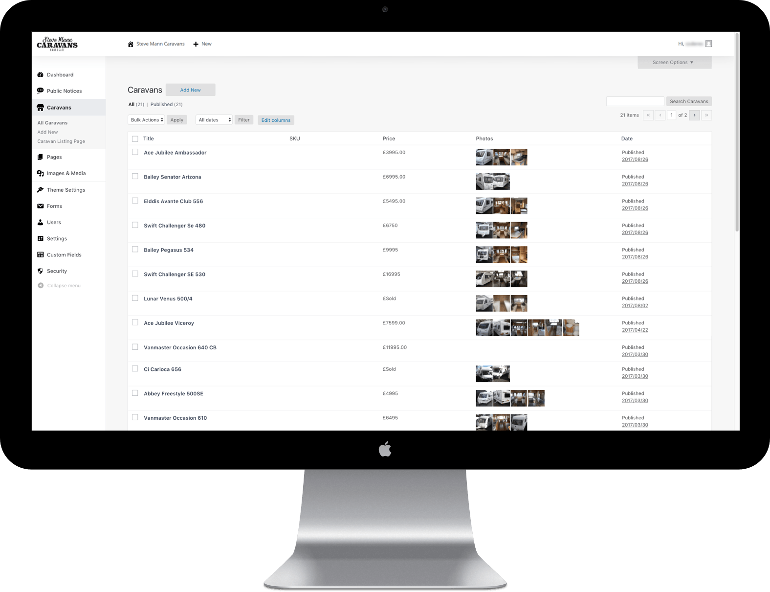 WordPress admin experience