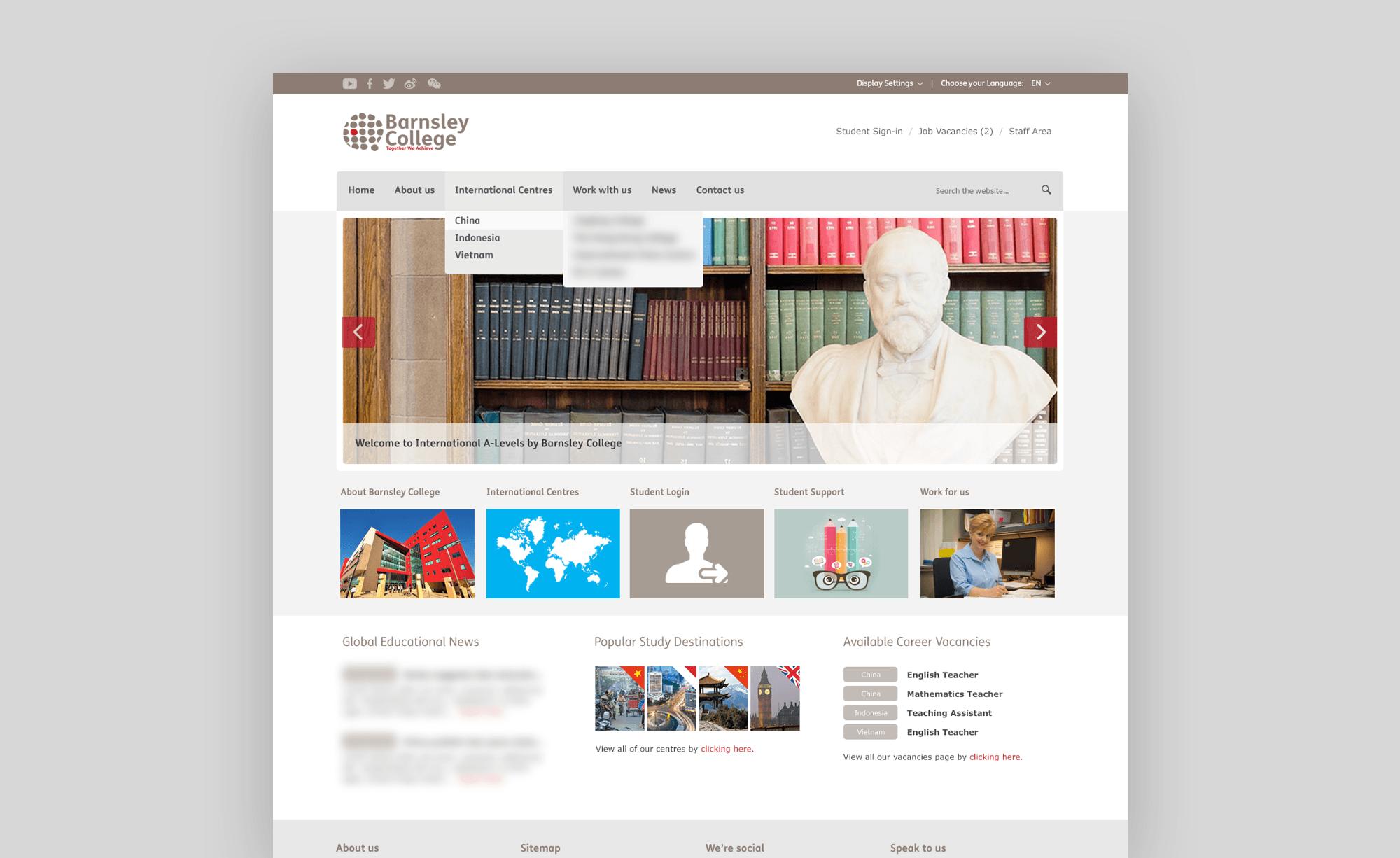 Former International website for Barnsley College