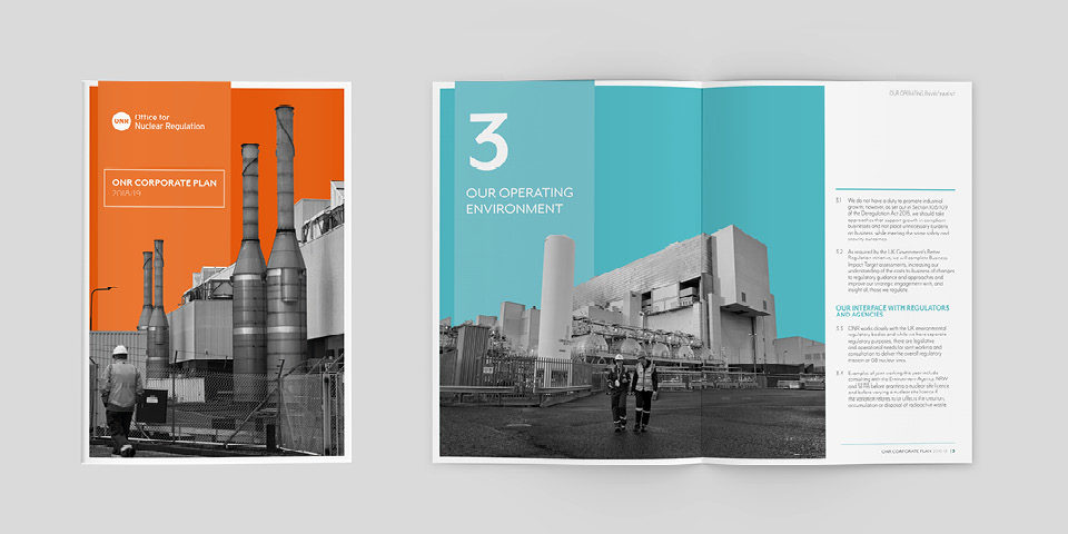 The ONR Corporate Plan's front cover and a spread. They both include black and white photos of power stations on brightly coloured backgrounds.