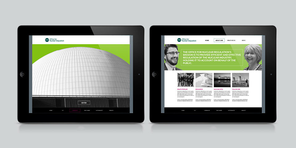 Mock-ups of the ONR website on two iPads. The brand style of monochrome photography on a bright background is used.