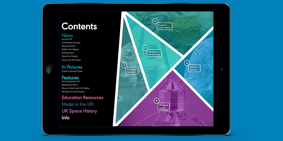 The SpaceUK magazine contents page on an iPad screen. It is illustrated with photographs tinted blue, turquoise and purple, divided by diagonal lines.