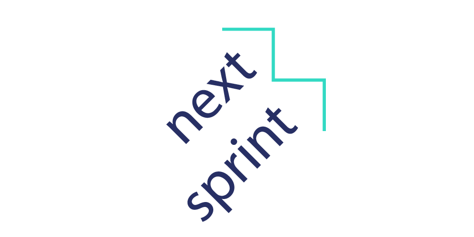 The Next Sprint logo, which is the words 'next sprint' in purple and stylised into diagonal arrows, with a turquoise zigzag line forming the points.