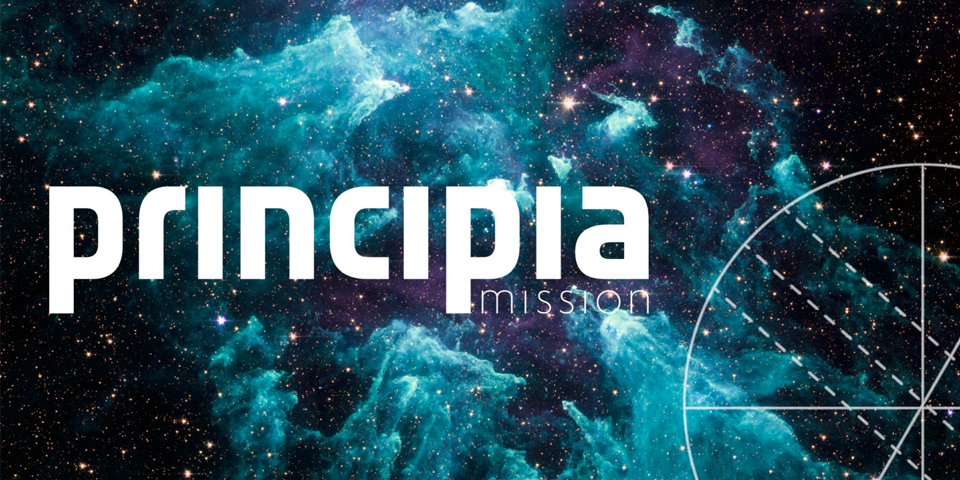 The Principia logo on an black and turquoise outer space background.