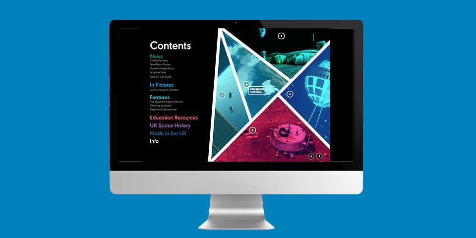 The Space UK magazine contents page is shown on the screen of a Mac, against a blue background.