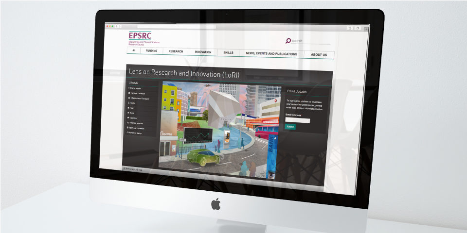 A mock-up on an iMac showing the illustration on the EPSRC website. The illustration appears under the header 'Lens on Research and Innovation (LoRI)'.
