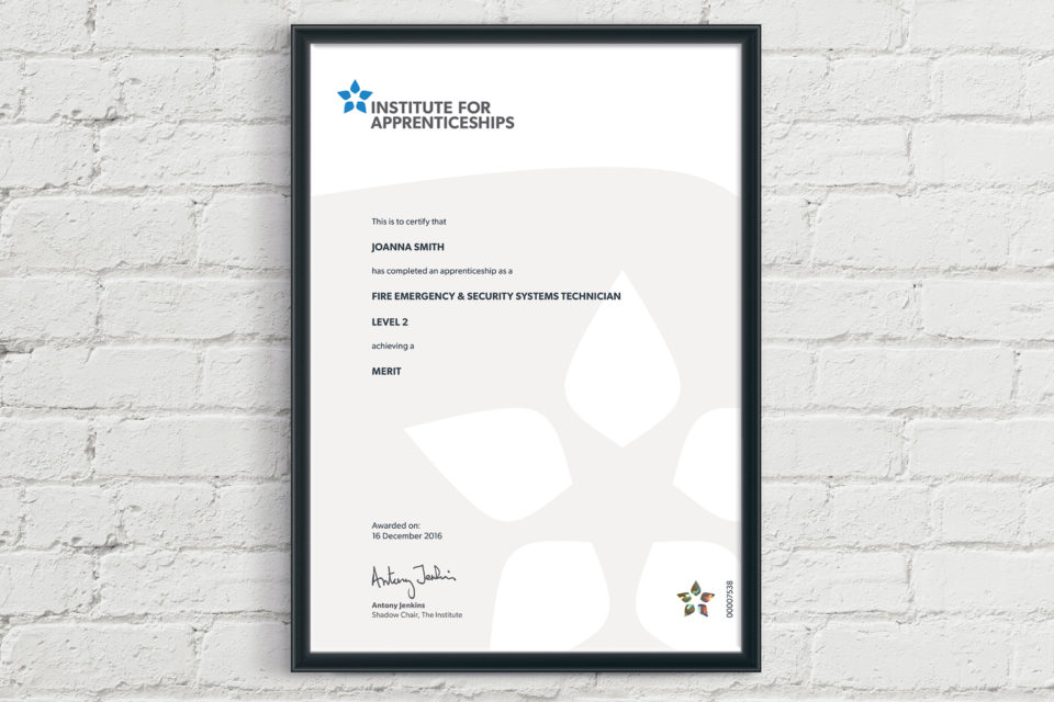 Institute for Apprenticeships certificate