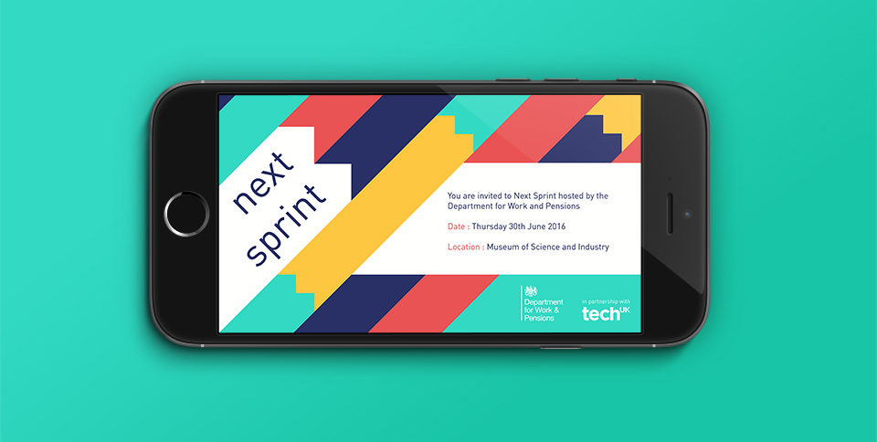 The Next Sprint-branded invitation to the event. It's depicted on a smartphone screen.