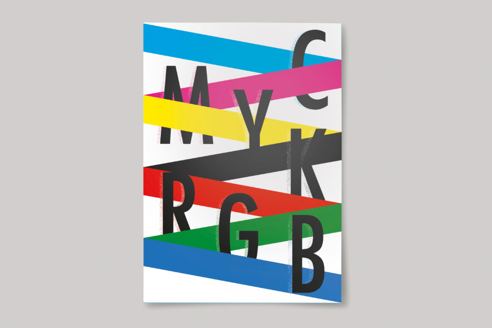 The letters 'C, M, Y, K, R, G, B' and blocks of cyan, magenta, yellow, black, red, green and blue, arranged in a zig-zag.