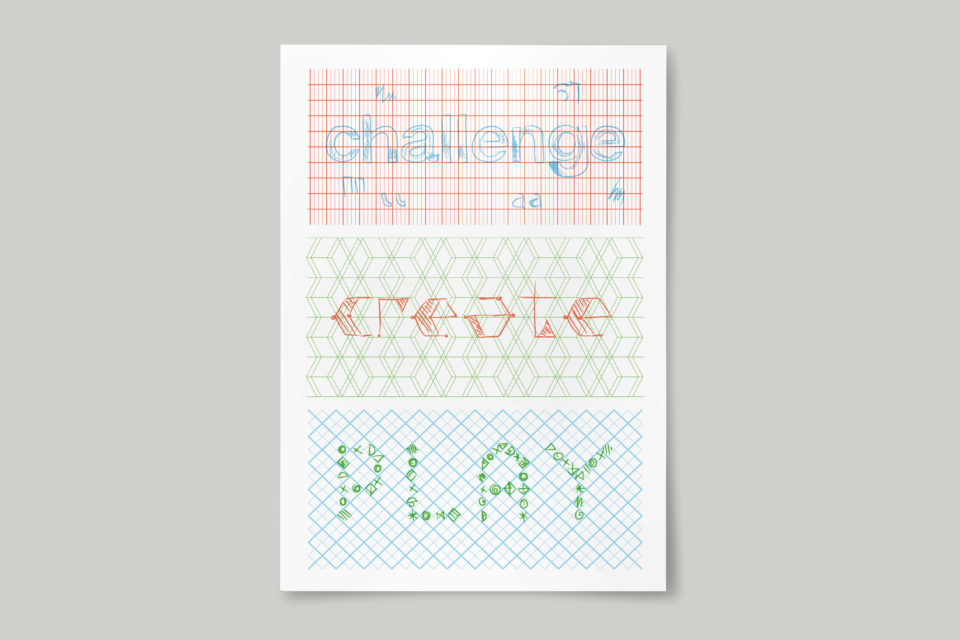 The text 'Challenge, create, play' in the style of coloured pencil doodles on graph paper.