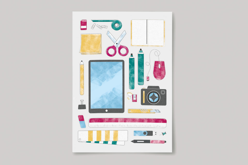 Illustration of desk items, including an iPad, camera, pens, scissors, notebooks and ruler, neatly laid out.