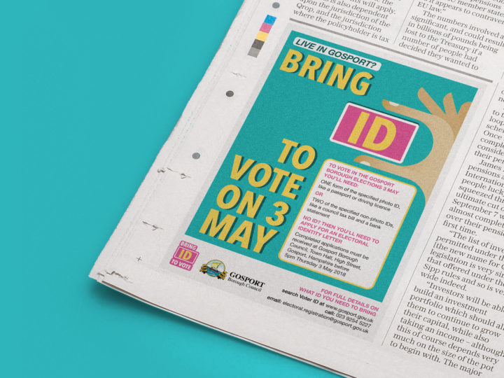 A mockup of a newspaper ad with Voter ID graphic. It reads 'Live in Gosport? Bring ID to vote on 3 May'.