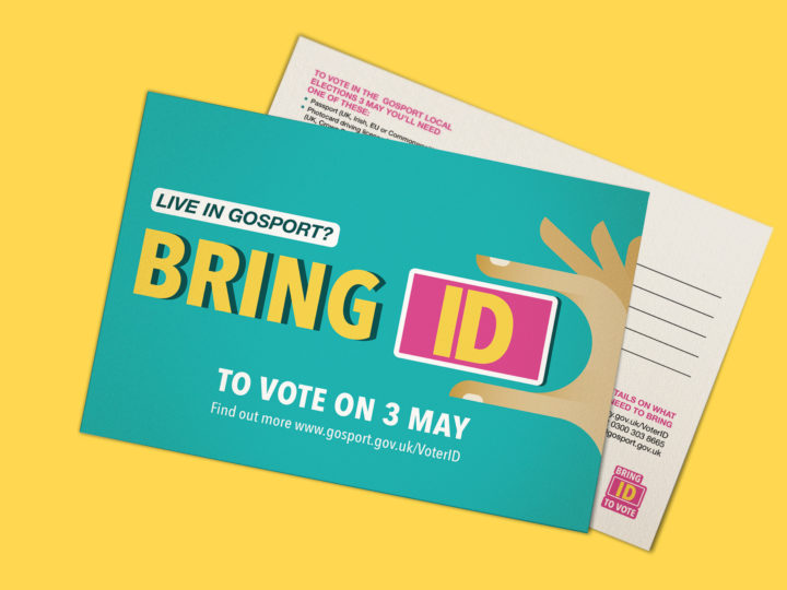 A Voter ID postcard. It reads 'Live in Gosport? Bring ID to vote on 3 May'.