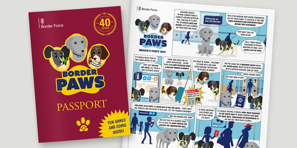 Border Paws passport and comic side by side. The passport is burgundy with a paw shape framing the three dog characters.