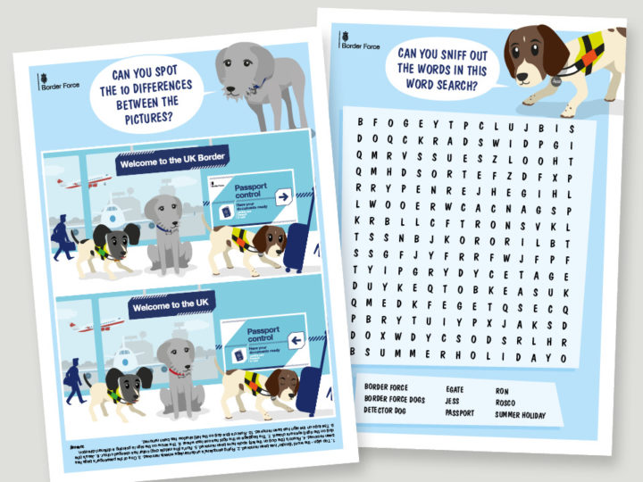 The Border Force dog trio are pictured on a spot the difference and a wordsearch, which are shown side by side.