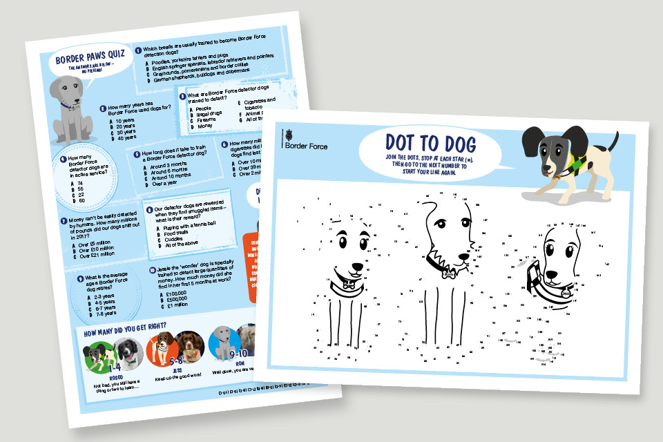 The characters are pictured on a printed Border Paws quiz and a dot to dot - titled 'Dot to Dog'.