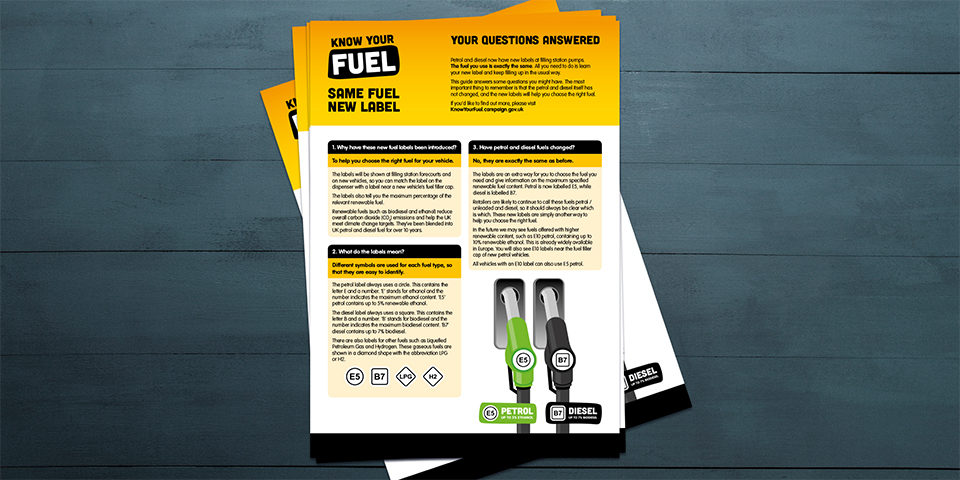 The Know Your Fuel branding is applied to leaflets, which are piled neatly on a plain wooden table backdrop. They include FAQs about the new fuel labels.