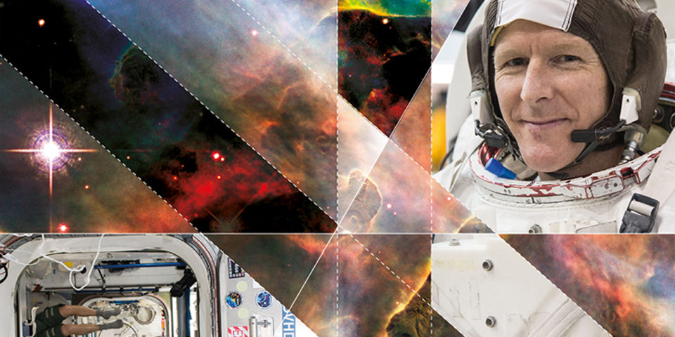The Principia branding. It includes a close-up photo of Tim Peake in a space suit. Images of space and stars are divided up by diagonal lines.