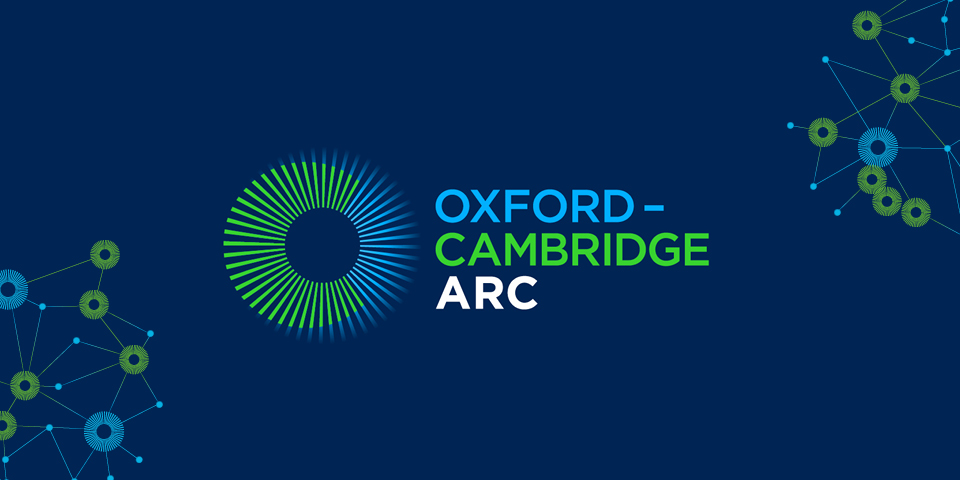 The Oxford-Cambridge Arc logo which shows two interlocking blue and green circles. The blue represents Oxford and the green, Cambridge.
