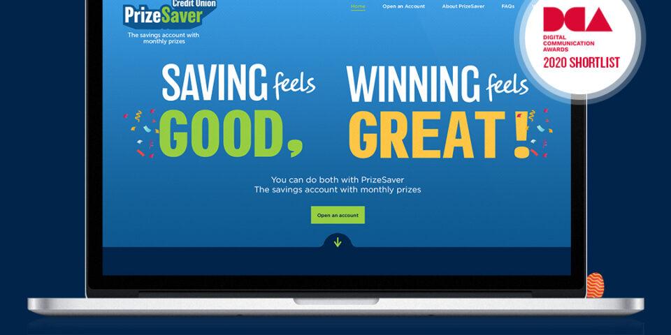 Prize Saver website with DCA Shortlist logo