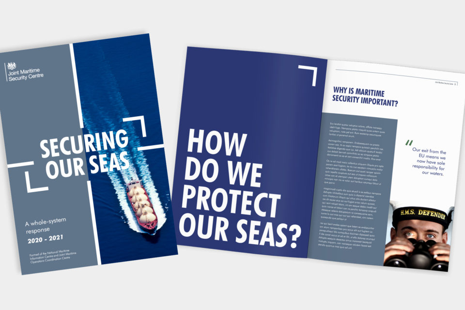 Mockup of a printed maritime report. The cover says 'securing our seas' and the spread has the headline 'how do we protect our seas?'