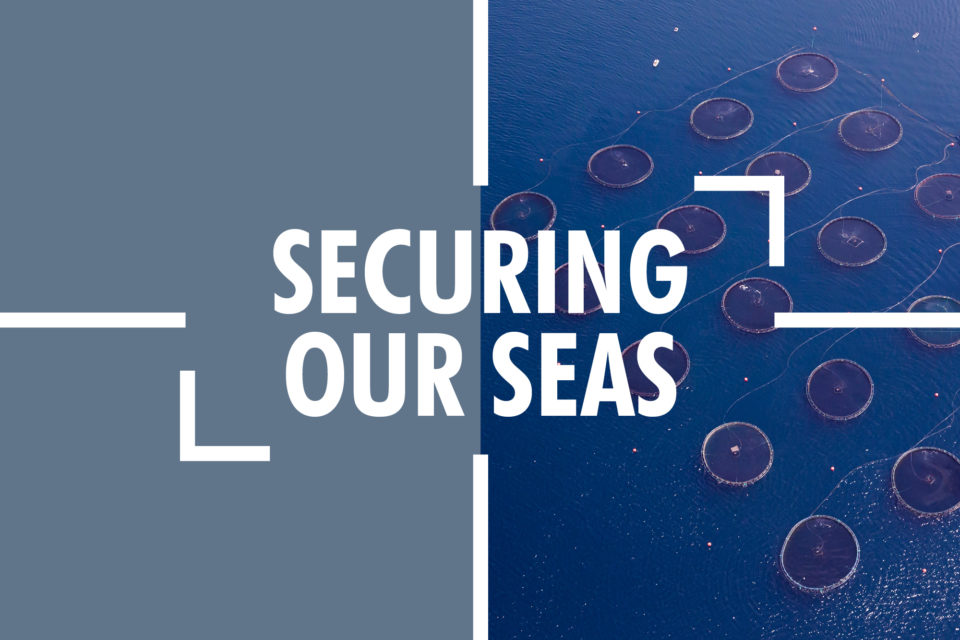 Maritime banner featuring the words 'securing our seas'