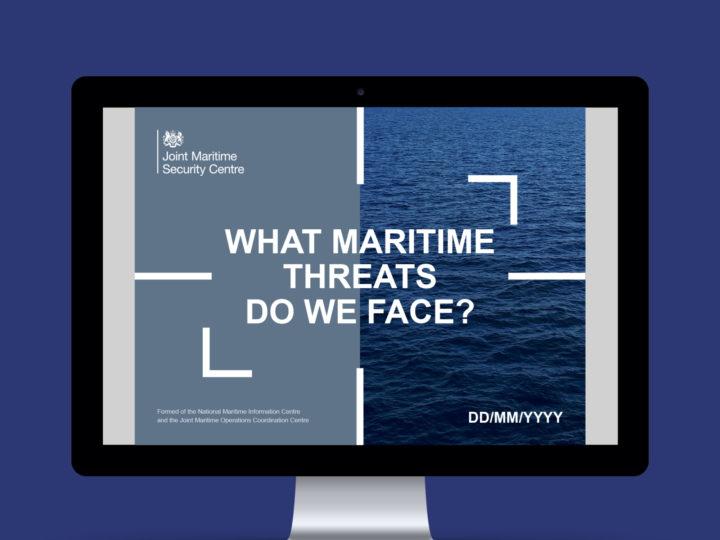 Computer screen mockup showing the maritime branding. The words on the computer screen read: What maritime threats do we face?