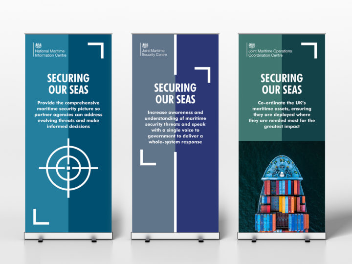 Three sample pull-up banners showing the maritime branding. Each one uses the headline 'securing our seas'