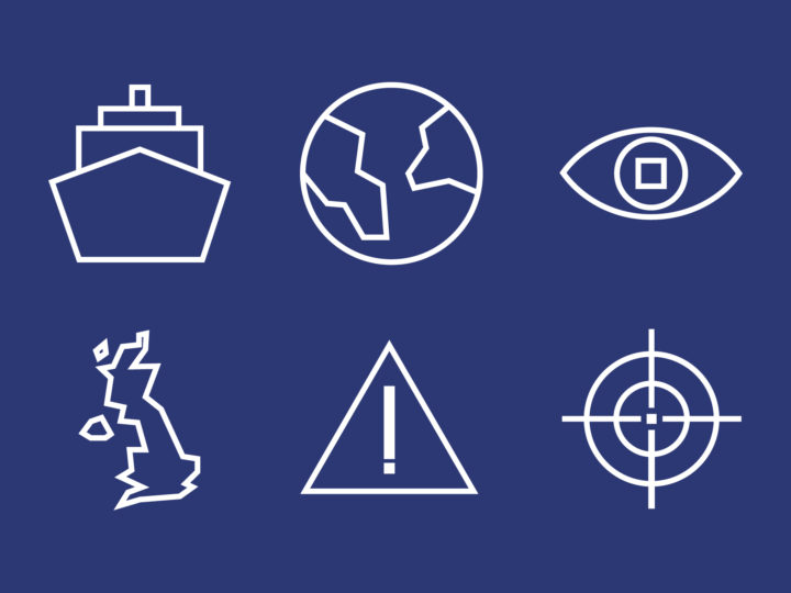 Suite of icons for the maritime branding. The icons depict a boat, globe, eye, UK outline, warning triangle and a target symbol. They are in white lines on a dark blue background.