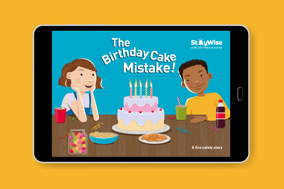 Tablet mockup showing an illustration of two children sat at a table with a cake. The header reads 'The birthday cake mistake'
