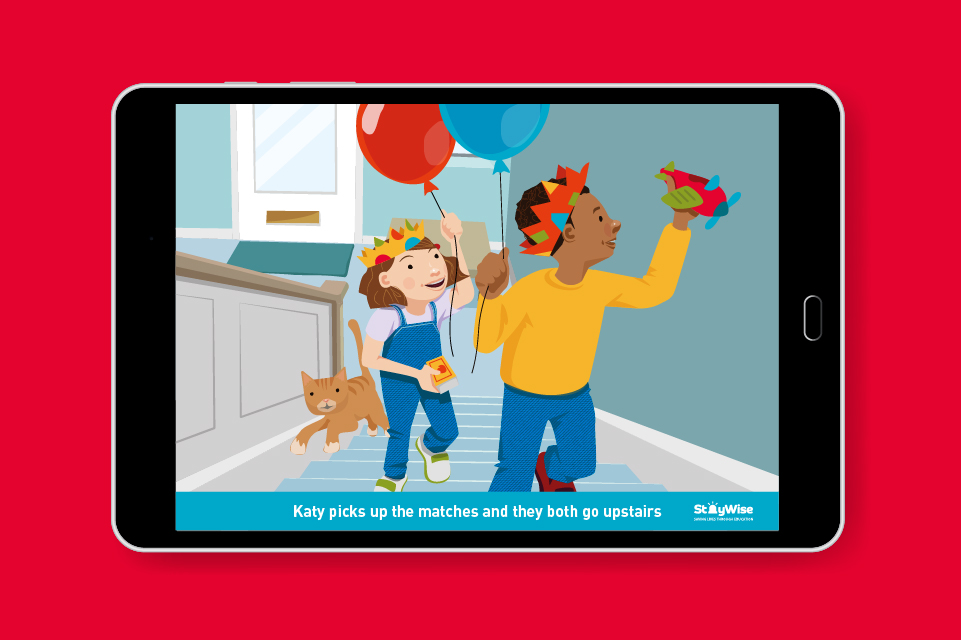 Tablet mockup showing an illustration of two children running upstairs with balloons. The caption reads 'Katy picks up the matches and they both go upstairs'
