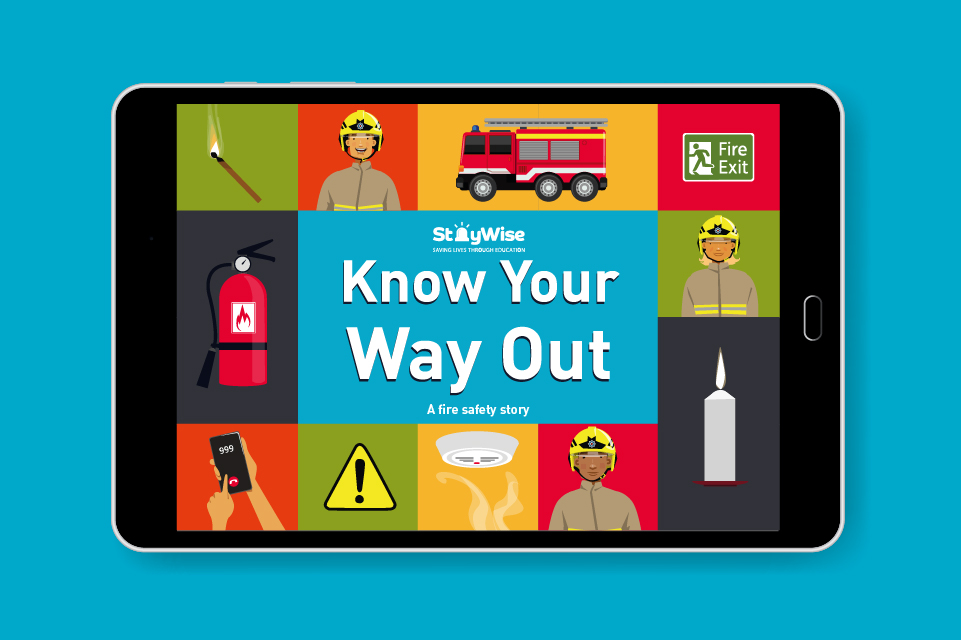 Tablet mockup showing the wording 'know your way out'. The words are surrounded by illustrations of a fire extinguisher, match, firefighter, fire engine, exit sign and open flames.