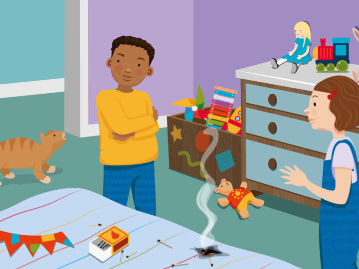 Illustration showing two children talking to each other in a playroom. Matches have been left on the table and one of them is emitting smoke.