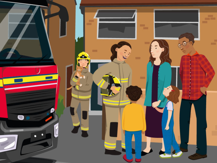 An illustration showing firefighters talking to a family outdoors. A fire engine is visible in the background.