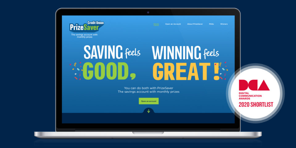 Prize Saver website with DCA Shortlist logo