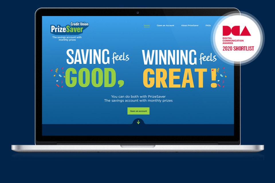 PrizeSaver website on laptop